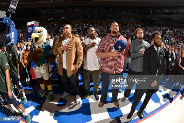 Brandon Brooks stands for the national anthem before the Philadelphia 76ers v Washington Wizards game on February 6 2018 at Wells Fargo Center in...