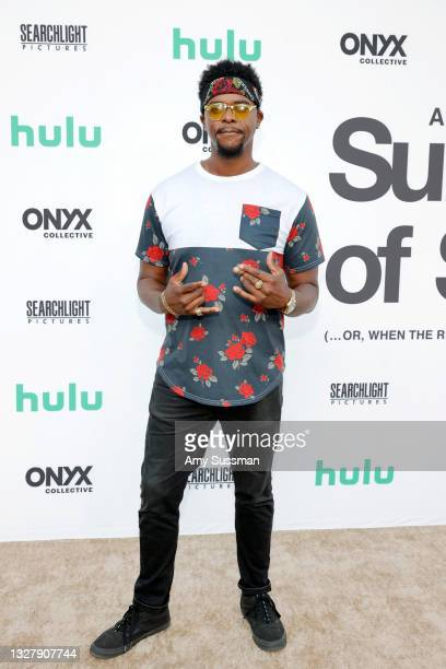 """Brandon Brown attends Cinespia's Special Screening of Fox Searchlight and Hulu's """"Summer Of Soul"""" with Questlove at The Greek Theatre on July 09,..."""