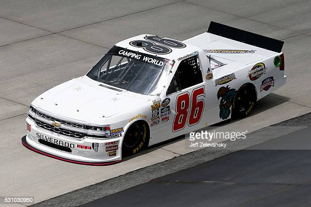 Brandon Brown driver of the Coastal Carolina University Chevrolet practices for the NASCAR Camping World Truck Series at Dover International Speedway...