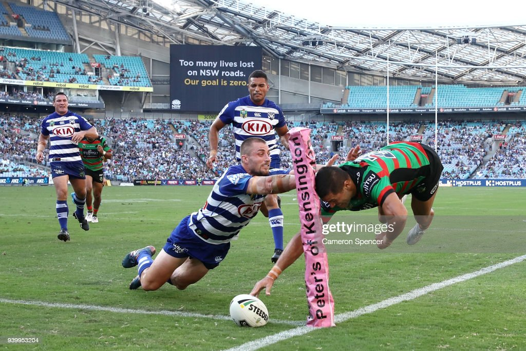 Brandon Burns of the Rabbitohs scores a try during the round four AFL match between the South Sydney Rabbitohs and the Canterbury Bulldogs at ANZ Stadium on March 30, 2018 in Sydney, Australia.