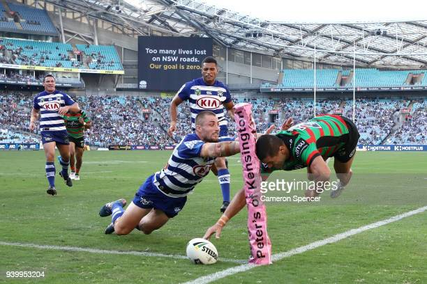 Brandon Burns of the Rabbitohs scores a try during the round four AFL match between the South Sydney Rabbitohs and the Canterbury Bulldogs at ANZ...