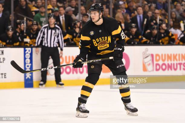Brandon Carlo of the Boston Bruins against the Tampa Bay Lightning at the TD Garden on March 23 2017 in Boston Massachusetts