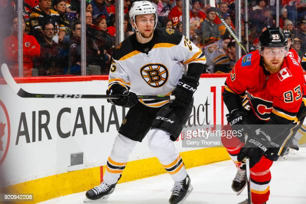 Brandon Carlo of the Boston Bruins in an NHL game on February 19 2018 at the Scotiabank Saddledome in Calgary Alberta Canada