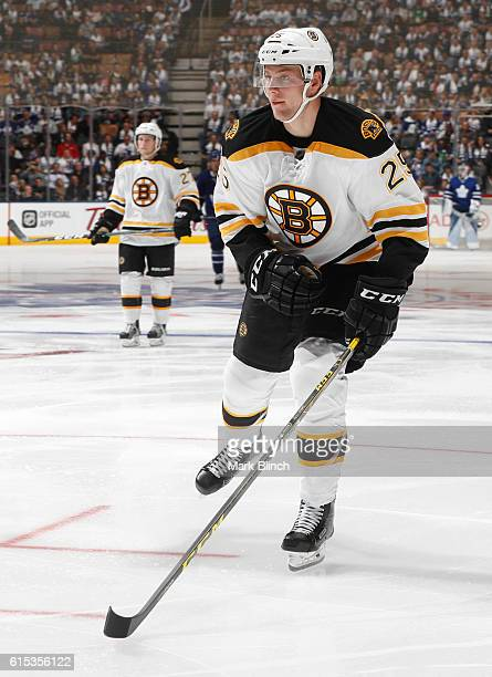 Brandon Carlo of the Boston Bruins skates agains the Toronto Maple Leafs during the third period at the Air Canada Centre on October 15 2016 in...
