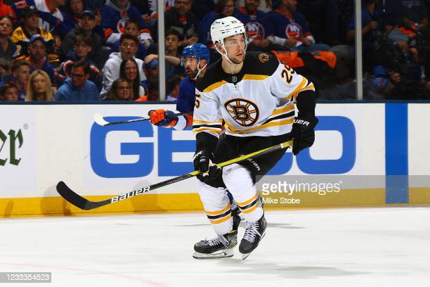 Brandon Carlo of the Boston Bruins skates against against the New York Islanders in Game Three of the Second Round of the 2021 Stanley Cup Playoffs...
