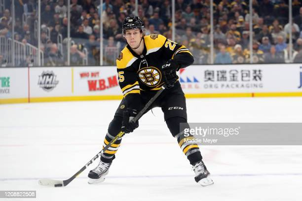 Brandon Carlo of the Boston Bruins skates against the Calgary Flames during the first period at TD Garden on February 25, 2020 in Boston,...