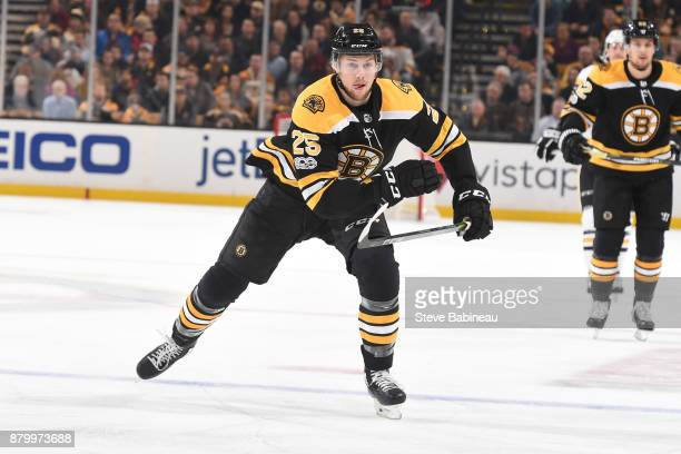 Brandon Carlo of the Boston Bruins skates against the Pittsburgh Penguins at the TD Garden on November 24 2017 in Boston Massachusetts
