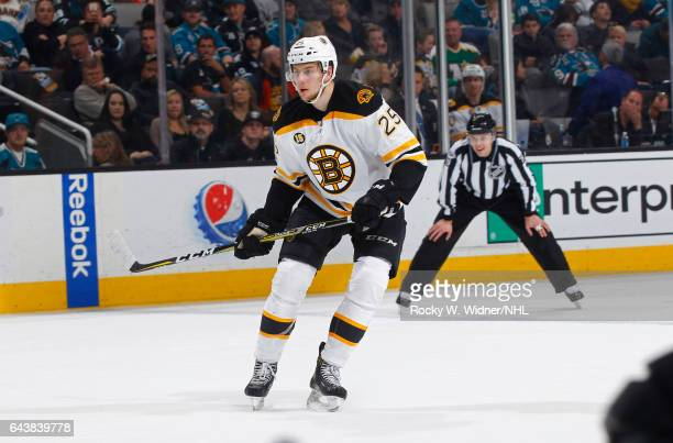 Brandon Carlo of the Boston Bruins skates against the San Jose Sharks at SAP Center on February 19 2017 in San Jose California