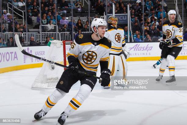 Brandon Carlo of the Boston Bruins skates against the San Jose Sharks at SAP Center on November 18 2017 in San Jose California
