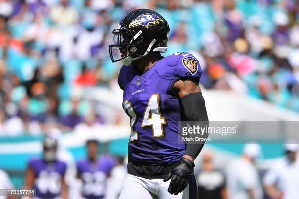 Brandon Carr of the Baltimore Ravens in action against the Miami Dolphins at Hard Rock Stadium on September 08, 2019 in Miami, Florida.
