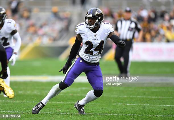 Brandon Carr of the Baltimore Ravens in action during the game against the Pittsburgh Steelers at Heinz Field on October 6, 2019 in Pittsburgh,...