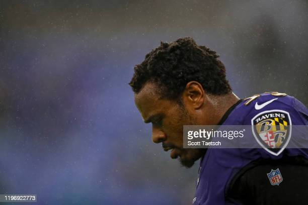 Brandon Carr of the Baltimore Ravens looks on before the game against the Pittsburgh Steelers at M&T Bank Stadium on December 29, 2019 in Baltimore,...