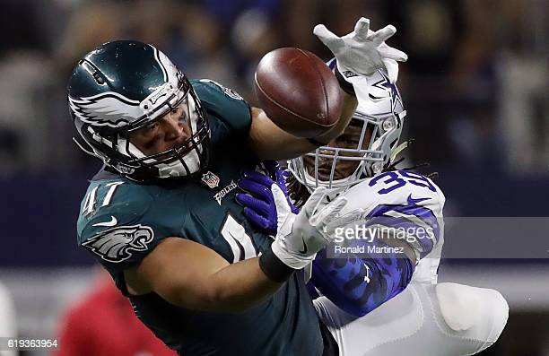 Brandon Carr of the Dallas Cowboys breaks up a pass intended for Trey Burton of the Philadelphia Eagles in the fourth quarter at ATT Stadium on...