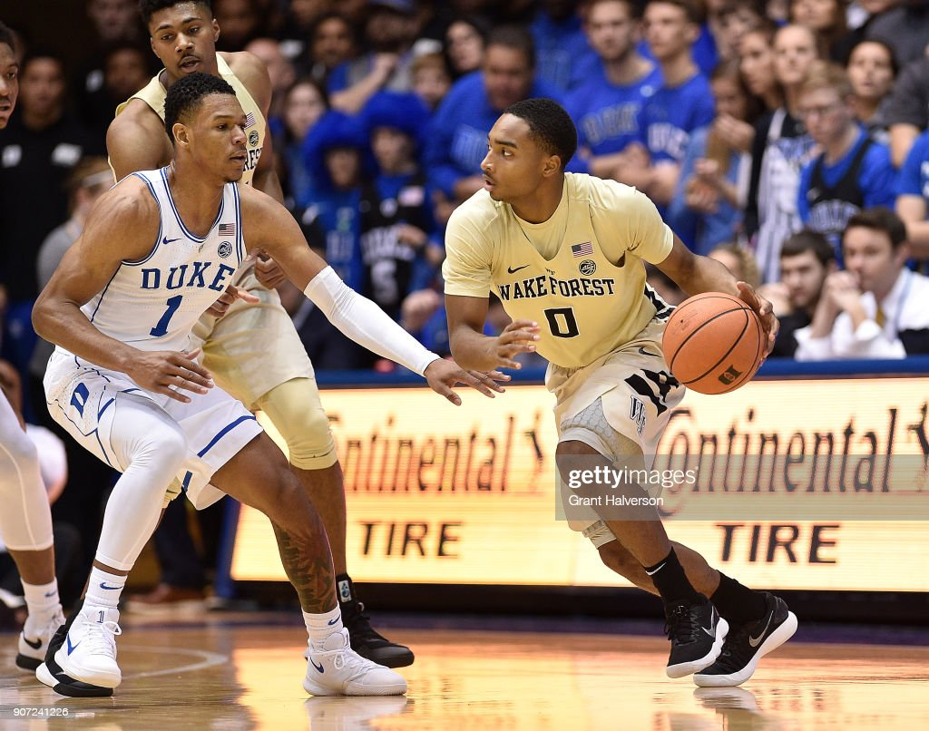 Brandon Childress #0 of the Wake Forest Demon Deacons against the Duke Blue Devils during their game at Cameron Indoor Stadium on January 13, 2018 in Durham, North Carolina. Duke won 89-71.
