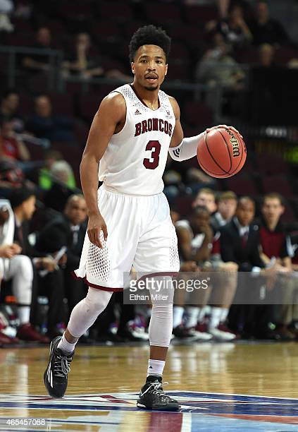 Brandon Clark of the Santa Clara Broncos brings the ball up the court against the Loyola Marymount Lions during an openinground game of the West...