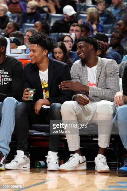 Brandon Clarke and Jaren Jackson Jr #13 of the Memphis Grizzlies smile during the game against the Sacramento Kings on February 28 2020 at FedExForum...