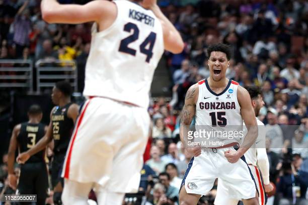 Brandon Clarke of the Gonzaga Bulldogs celebrates a play against the Florida State Seminoles during the 2019 NCAA Men's Basketball Tournament West...