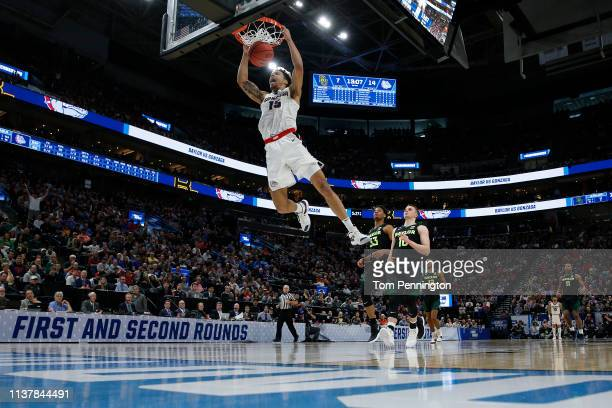 Brandon Clarke of the Gonzaga Bulldogs dunks the ball against the Baylor Bears during their game in the Second Round of the NCAA Basketball...