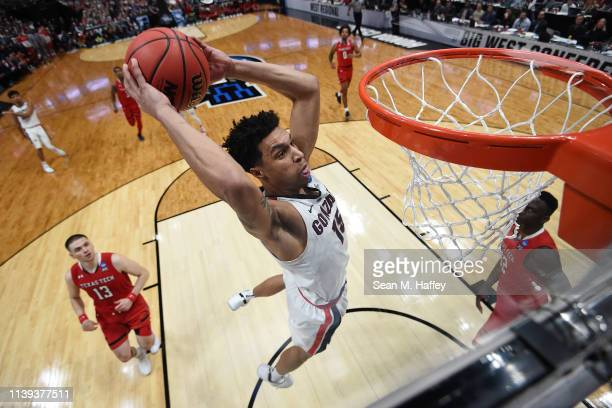 Brandon Clarke of the Gonzaga Bulldogs dunks the ball against the Texas Tech Red Raiders during the second half of the 2019 NCAA Men's Basketball...