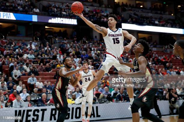 Brandon Clarke of the Gonzaga Bulldogs goes up for a shot against Florida State Seminoles in the first hald at Honda Center on March 28 2019 in...
