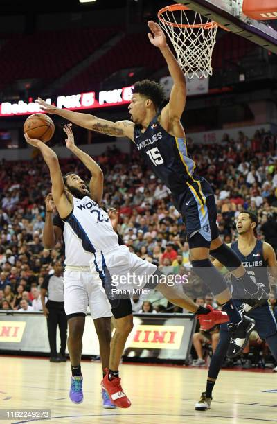 Brandon Clarke of the Memphis Grizzlies blocks a shot by Jordan McLaughlin of the Minnesota Timberwolves during the championship game of the 2019 NBA...