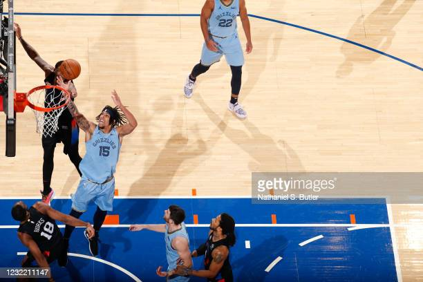 Brandon Clarke of the Memphis Grizzlies drives to the basket during the game against the New York Knicks on April 9, 2021 at Madison Square Garden in...