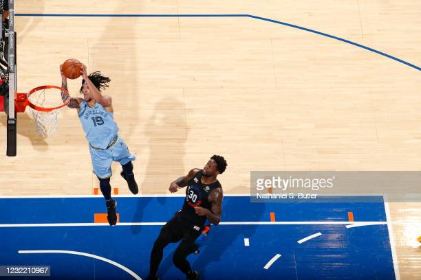 Brandon Clarke of the Memphis Grizzlies dunks the ball during the game against the New York Knicks on April 9, 2021 at Madison Square Garden in New...