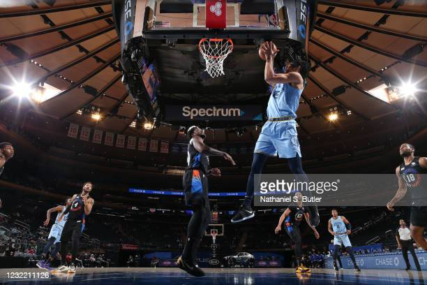 Brandon Clarke of the Memphis Grizzlies handles the ball during the game against the New York Knicks on April 9, 2021 at Madison Square Garden in New...