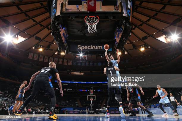 Brandon Clarke of the Memphis Grizzlies shoots the ball during the game against the New York Knicks on April 9, 2021 at Madison Square Garden in New...