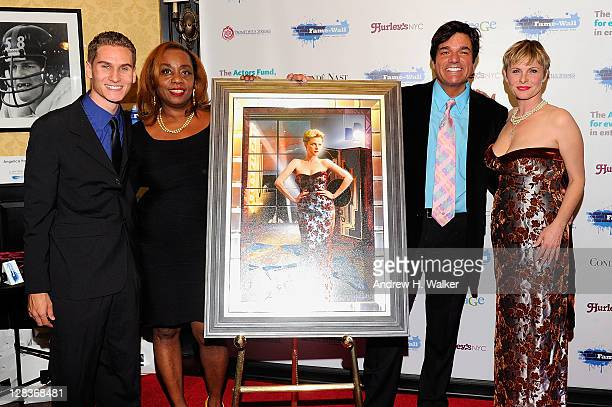 Brandon Cohen Angela Crockett Dale Badway and Angelica Page attend a ceremony in which Page receives honors from FameWall NYC at Hurley's Saloon on...