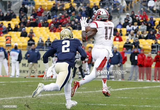 Brandon Coleman of the Rutgers Scarlet Knights catches a second half touchdown against the Pittsburgh Panthers during the game on November 24 2012 at...