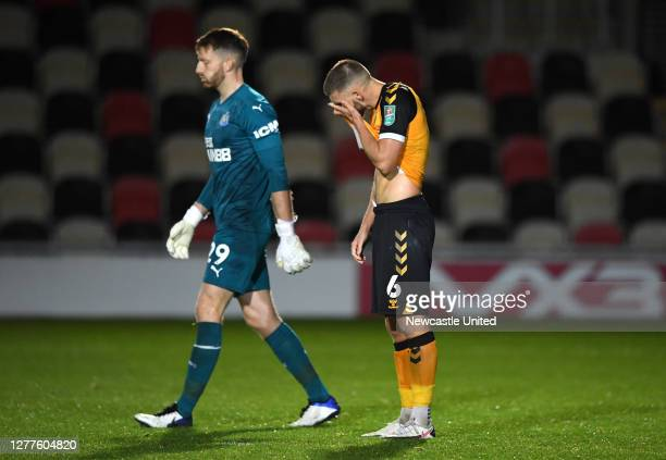 Brandon Cooper of Newport County reacts after missing the fifth penalty to lose the penalty shoot out during the Carabao Cup fourth round match...