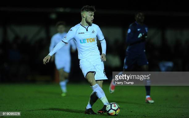 Brandon Cooper of Swansea City looks to pass the ball during the Premier League 2 match between Swansea City and Tottenham Hotspur at Landore...