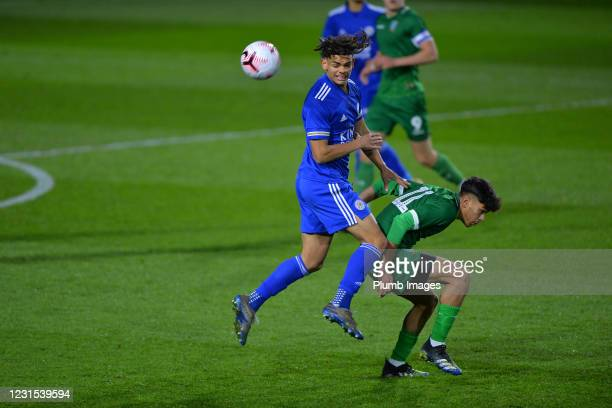 Brandon Cover of Leicester City with Paulo Aguas of Sheffield Wednesday during Leicester City v Sheffield Wednesday: FA Youth Cup at Leicester City...
