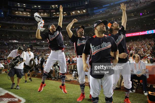 Brandon Crawford of the San Francisco Giants and the Houston Astros' George Springer Jose Altuve and Justin Verlander react during the TMobile Home...
