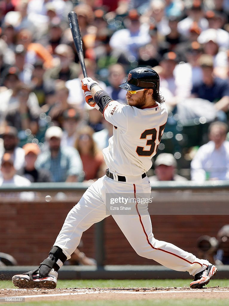 Brandon Crawford #35 of the San Francisco Giants bats against the Washington Nationals at AT&T Park on May 22, 2013 in San Francisco, California.