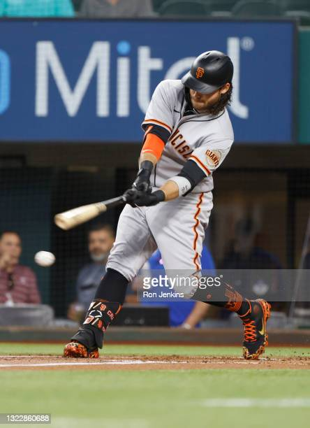 Brandon Crawford of the San Francisco Giants bats against the Texas Rangers at Globe Life Field on June 9, 2021 in Arlington, Texas.
