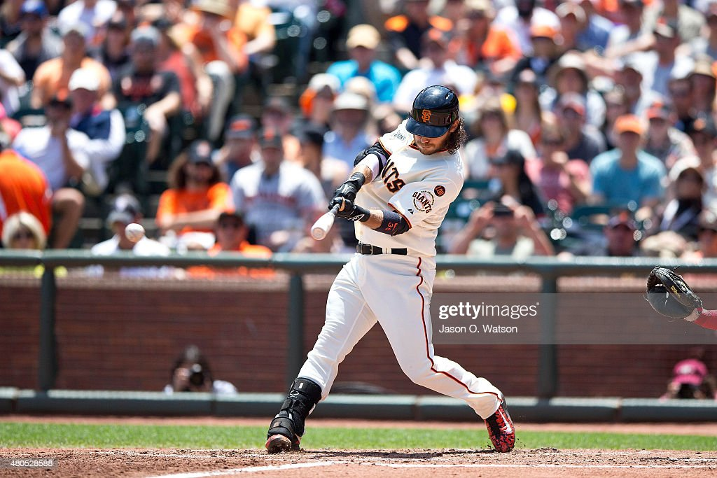 Brandon Crawford #35 of the San Francisco Giants hits an RBI single against the Philadelphia Phillies during the fourth inning at AT&T Park on July 12, 2015 in San Francisco, California. The San Francisco Giants defeated the Philadelphia Phillies 4-2.