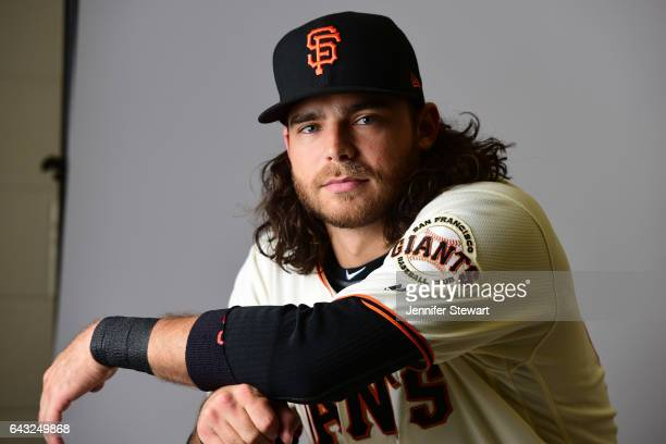 Brandon Crawford of the San Francisco Giants poses for a portait during a MLB photo day at Scottsdale Stadium on February 20 2017 in Scottsdale...