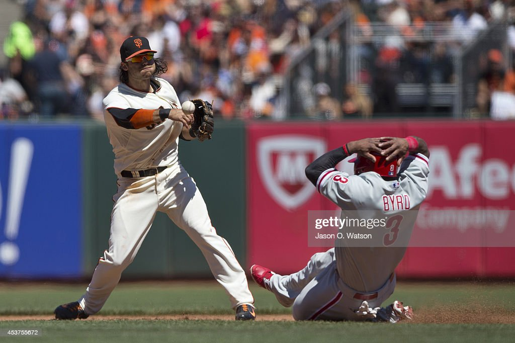 Brandon Crawford #35 of the San Francisco Giants throws to first base to complete a double play over Marlon Byrd #3 of the Philadelphia Phillies during the fifth inning at AT&T Park on August 17, 2014 in San Francisco, California.
