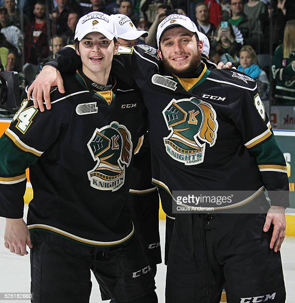 Brandon Crawley and JJ Piccinich of the London Knights celebrate victory against the Erie Otters in the OHL Western Conference Final on April 27 2016...