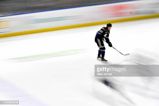 Brandon Cutler of the Victoria Royals glides across the ice against the Seattle Thunderbirds in the first period at the accesso ShoWare Center on...
