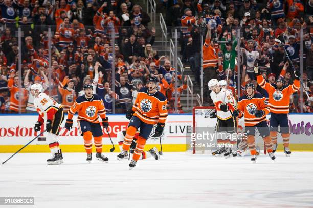 Brandon Davidson of the Edmonton Oilers celebrates his goal against the Calgary Flames at Rogers Place on January 25 2018 in Edmonton Canada