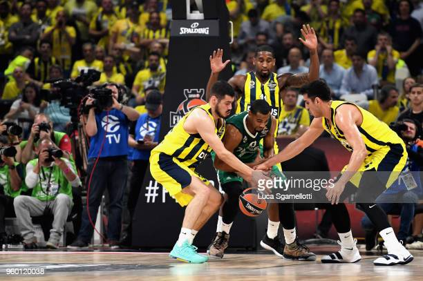 Brandon Davies #0 of Zalgiris Kaunas during the 2018 Turkish Airlines EuroLeague F4 Semifinal B game between Fenerbahce Dogus Istanbul v Zalgiris...