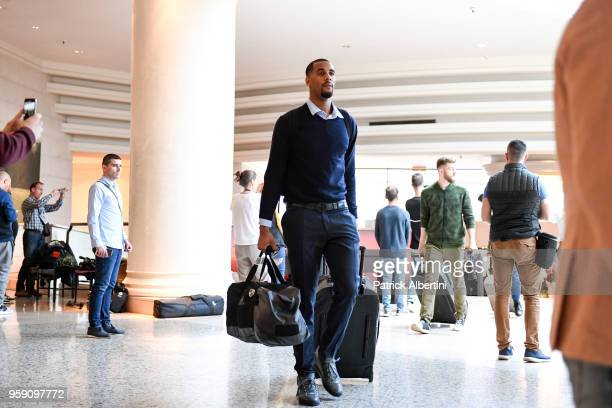 Brandon Davies #0 of Zalgiris Kaunas during the Zalgiris Kaunas Arrival to participate of 2018 Turkish Airlines EuroLeague F4 at Hyatt Regency Hotel...