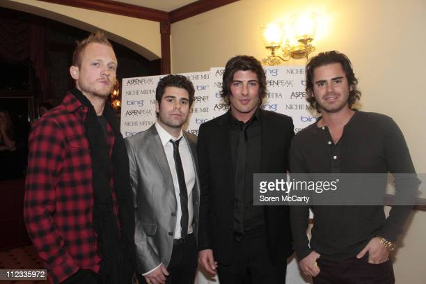 Brandon Davis and guests attend Niche Media's Bing's NYE Bash hosted by Haley Jason Binn and Aimee John Oates at Hotel Jerome on January 1 2010 in...