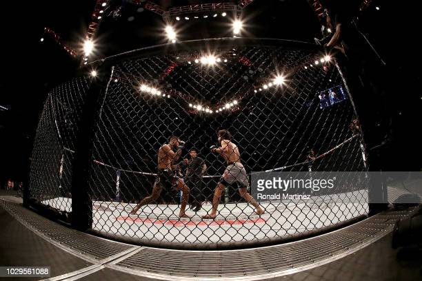 Brandon Davis and Zabit Magomedsharipov in their Featherweight bout during UFC 228 at American Airlines Center on September 8 2018 in Dallas United...