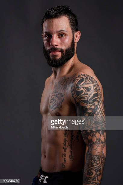 Brandon Davis poses for a post fight portrait backstage during the UFC Fight Night event at Frank Erwin Center on February 18 2018 in Austin Texas