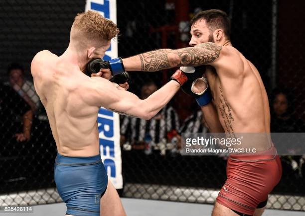 Brandon Davis punches Austin Arnett in their featherweight bout during Dana White's Tuesday Night Contender Series at the TUF Gym on August 1 2017 in...