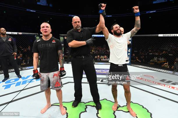 Brandon Davis reacts after his decision victory over Steven Peterson in their featherweight bout during the UFC Fight Night event at Frank Erwin...